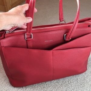 Red Cole Haan leather Business/ Travel Tote bag